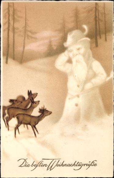 Frohe Weihnachten Jager.Postcard Frohe Weihnachten Jager Schneemann Rehe Akpool Co Uk