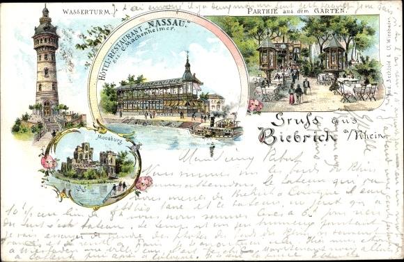 Chromo Litho Biebrich Am Rhein Wiesbaden Hotel Akpoolcouk