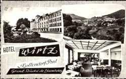 Postcard Bollendorf Pont Luxemburg, Hotel Wirtz, Innenansicht, Blick auf den Ort