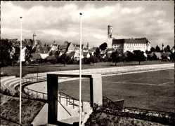 Postcard Dillingen, Blick in das Stadion, Eingang, Tribüne, Gebäude
