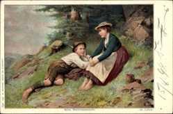 Künstler Ak Lüben, Ad., Beim Beerrensammeln, Junge und Mädchen, Barfuß