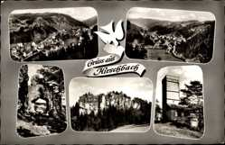 Postcard Hirschbach Fränkische Alb, Totalansicht, Felsen, Turm