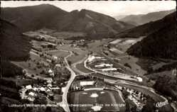 Postcard Wolfach Schwarzwald, Fliegeraufnahme, Blick ins Kinzigtal, Fußballplatz