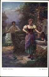 Künstler Ak Zatzka, Hans, Die Müllerin, Liebespaar, Am Brunnen