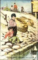 Künstler Ak Edam Volendam Nordholland, Volendammer Kinderen, Kinder am Fluss