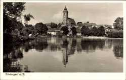 Postcard Nürtingen am Neckar im Kreis Esslingen, Blick über Gewässer zum Ort, Kirche