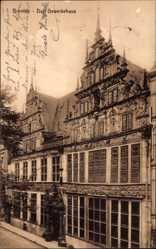 Postcard Bremen, Blick auf das Gewerbehaus, Hausfassade, Straßenpartie