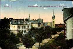 Postcard Saarlouis, Kreis Sparkasse, Königliches Landratsamt, Kirche