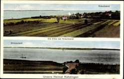 Postcard Krautsand Drochtersen im Kreis Stade, Blick auf den Ort, Glückstadt,Kehdingen