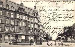 Postcard Bremerhaven, Siegesplatz und Leher Freigebiet, Denkmal, Passanten