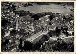 Postcard Amorbach Unterfranken, Fliegeraufnahme von der berühmten Abteikirche