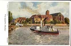 Künstler Ak Günther, Wrocław Breslau Schlesien, Sandinsel, Flussdampfer