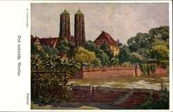 Künstler Ak Irmann, Wrocław Breslau Schlesien, Dominsel, Dom, Fluss