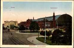 Postcard Hansestadt Bremen, Bahnhofsplatz, Zentralbahnhof, Museum