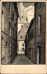 Künstler Ak Bloßfeld, Karl, Bernburg an der Saale Salzlandkreis,Gasse am Rathaus