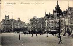 Postcard Düsseldorf am Rhein, Der Wilhelmsplatz vor dem Hauptbahnhof