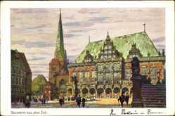 Künstler Ak Schulze, Kurt, Hansestadt Bremen, Rathaus und Kirche