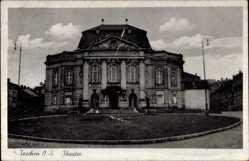 Ak Cieszyn Teschen Schlesien, Ansicht vom Theater, Eingangsfront