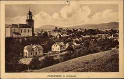 Ak Mirsk Friedeberg Queis Schlesien, Ort mit Kirche, Häuser