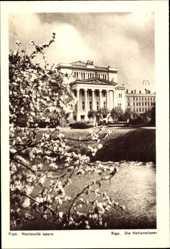 Postcard Riga Lettland, Nacionala opera, Die Nationaloper, Frühling
