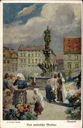 Künstler Ak Langer, Wrocław Breslau Schlesien, Neumarkt,Neptunbrunnen,Gabeljürge