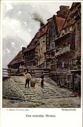 Künstler Ak Günther, Wrocław Breslau Schlesien, Weißgerberohle