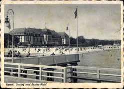 Ak Sopot Gdańsk Zoppot Danzig, Seesteg und Kasino Hotel, Strandblick