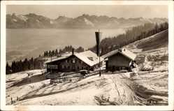 Postcard Sonthofen im Kreis Oberallgäu Schwaben, Wintersportheim Eck Alpe, Schnee