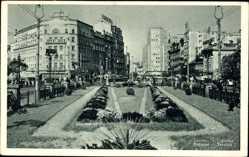 Postcard Beograd Belgrad Serbien, Terazija, Blumenbeete, Telefunken, Straßenbahn