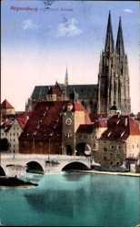 Postcard Regensburg an der Donau Oberpfalz, Dom St Peter und Steinerne Brücke