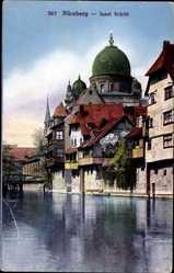 Postcard Nürnberg in Mittelfranken Bayern, Blick auf die Insel Schütt mit Synagoge