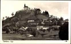 Postcard Parkstein Oberpfalz, Blick auf den Ort und Kirche, Berg, Basaltkegel