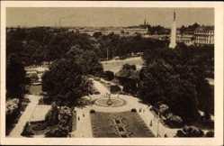 Postcard Riga Lettland, Latvijas vertspapiru spiestuve, Platz, Vogelschau, Säule