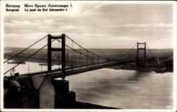 Postcard Belgrad Serbien, Le pont du Roi Alexandre I., Hängebrücke