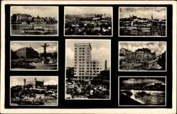 Postcard Poszony Pressburg Bratislava Slowakei, Manderla Hochhaus, Burg, Brunnen