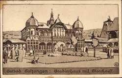 Künstler Ak Bad Salzungen im Wartburgkreis, Gradierhaus mit Storchnest