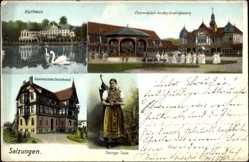 Postcard Bad Salzungen im Wartburgkreis, Kinderheilanstalt Charlottenhall, Tracht