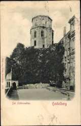 Relief Ak Heidelberg am Neckar, Der Schlossaltan, Turm, Platz