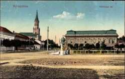 Postcard Nyíregyháza Ungarn, Szechenyi ter, Platz, Kirche, Litfaßsäule
