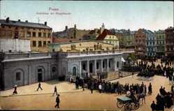 Ak Poznań Posen, Aufziehen der Hauptwache, Soldaten, Zuschauer, Kutsche