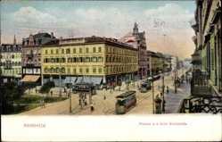 Postcard Mannheim, Plancken an der Ecke Breitestraße, Straßenbahn, Gleise