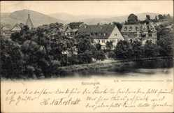 Postcard Bad Salzungen im Wartburgkreis, Häuser am Fluss