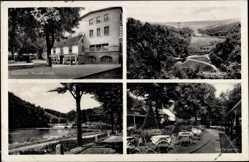 Postcard Mettmann, Gaststätte Neanderhöhle, Gartenpartie, Naturschutzpark