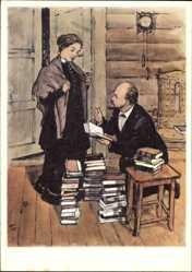 Künstler Ak H. H. Zhukov, Lenin mit seiner Frau, Bücherstapel, Reichtum