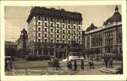 Foto Ak Belgrad Beograd Serbien, Riunione, Reiterstandbild, Straßenbahn