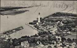 Ak Warszów Świnoujście Osternothafen Swinemünde, Fliegeraufnahme, Leuchtturm