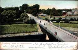 Ak Bromberg in Westpreußen, Hafen und Wilhelms Brücke