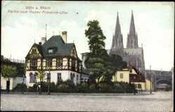 Postcard Köln am Rhein, Partie vom Kaiser Friedrich Ufer, Dom, Fachwerkhaus