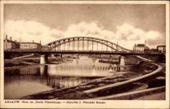 Postcard Kraków Krakau Polen, Most im. Jozefa Pilsudskiego, Pilsudski Brücke