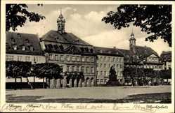 Postcard Hanau im Main Kinzig Kreis Hessen, Blick auf den Marktplatz, Denkmal